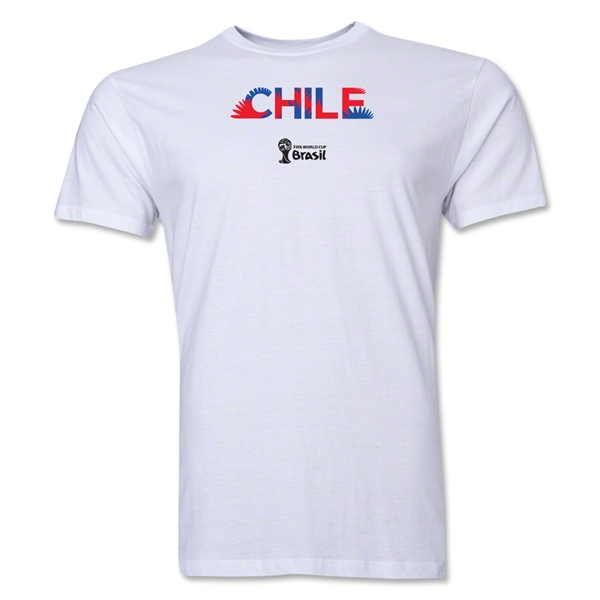 Chile 2014 FIFA World Cup Brazil(TM) Men's Premium Palm T-Shirt (White)