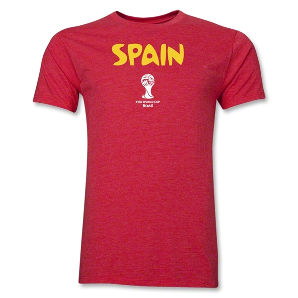Spain 2014 FIFA World Cup Brazil(TM) Men's Premium Core T-Shirt (Heather Red)