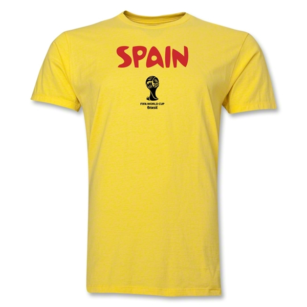 Spain 2014 FIFA World Cup Brazil(TM) Men's Premium Core T-Shirt (Yellow)