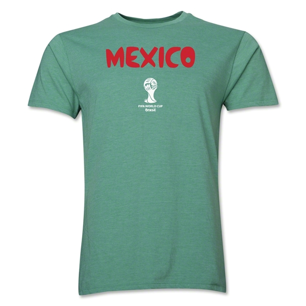 Mexico 2014 FIFA World Cup Brazil(TM) Men's Premium Core T-Shirt (Heather Green)