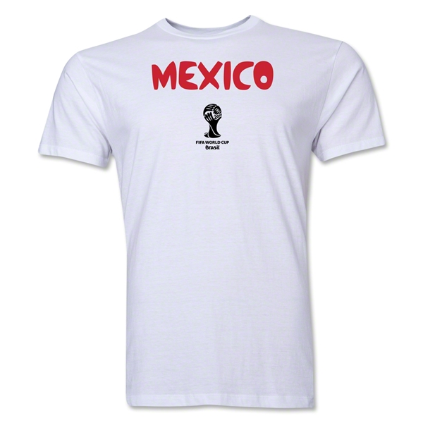Mexico 2014 FIFA World Cup Brazil(TM) Men's Premium Core T-Shirt (White)