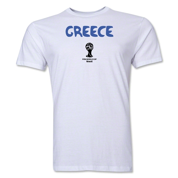 Greece 2014 FIFA World Cup Brazil(TM) Men's Premium Core T-Shirt (White)
