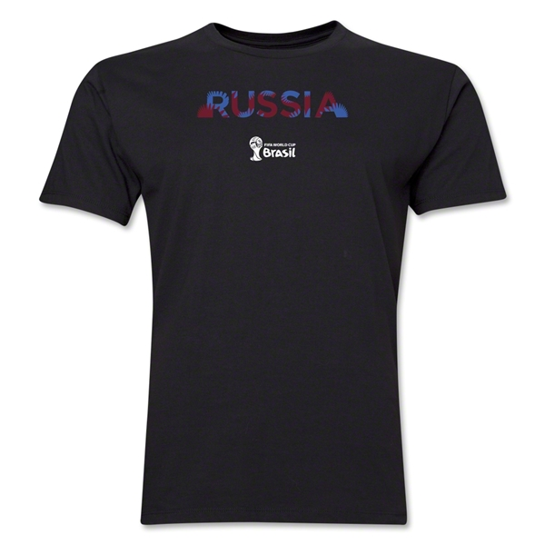 Russia 2014 FIFA World Cup Brazil(TM) Men's Premium Palm T-Shirt (Black)