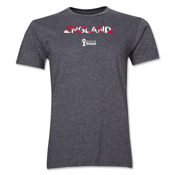 England 2014 FIFA World Cup Brazil(TM) Men's Premium Palm T-Shirt (Dark Grey)