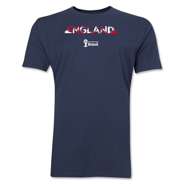 England 2014 FIFA World Cup Brazil(TM) Men's Premium Palm T-Shirt (Navy)