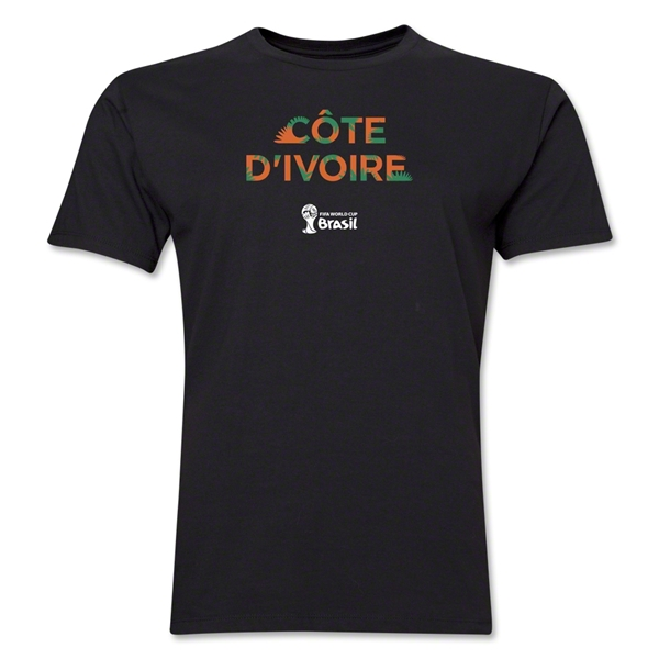Cote d'Ivoire 2014 FIFA World Cup Brazil(TM) Men's Premium Palm T-Shirt (Black)