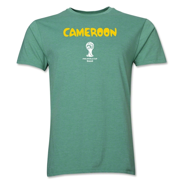 Cameroon 2014 FIFA World Cup Brazil(TM) Men's Premium Core T-Shirt (Heather Green)