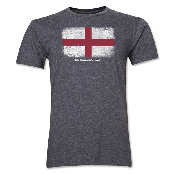 England FIFA World Cup Brazil(TM) Men's Premium Flag T-Shirt (Dark Gray)