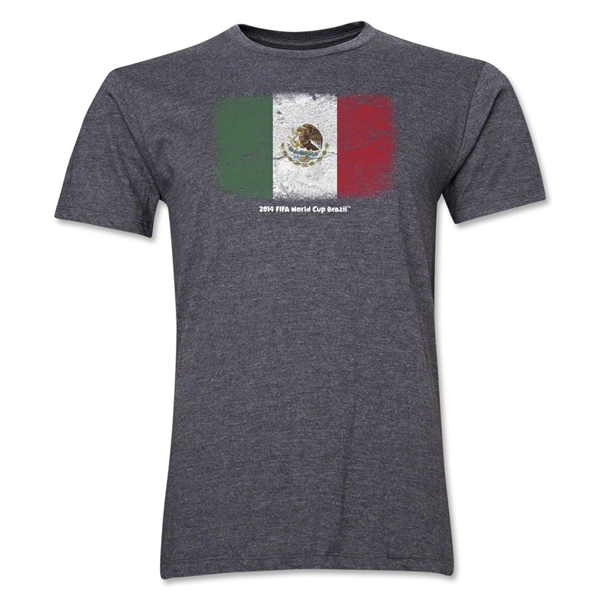Mexico FIFA World Cup Brazil(TM) Men's Premium Flag T-Shirt (Dark Gray)