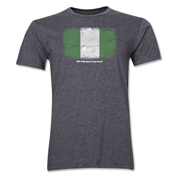 Nigeria FIFA World Cup Brazil(TM) Men's Premium Flag T-Shirt (Dark Gray)