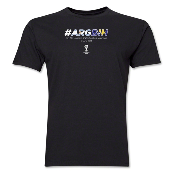 Argentina v Bosnia-Herzegovina 2014 FIFA World Cup Brazil(TM) Men's Premium Match Hashtag T-Shirt (Black)
