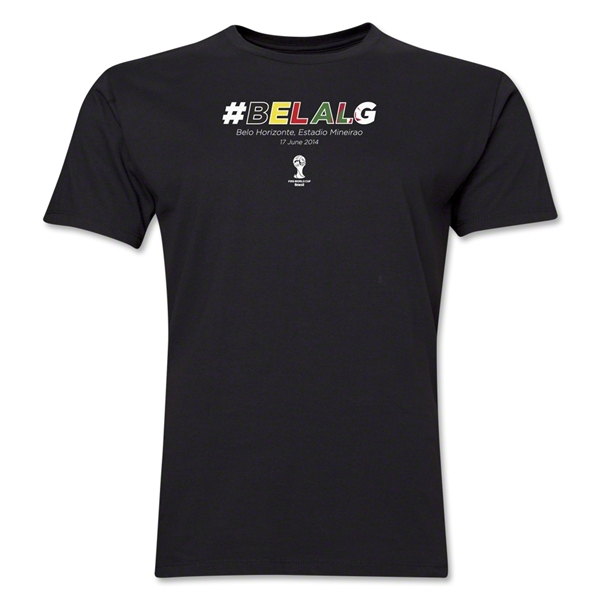 Belgium v Algeria 2014 FIFA World Cup Brazil(TM) Men's Premium Match Hashtag T-Shirt (Black)