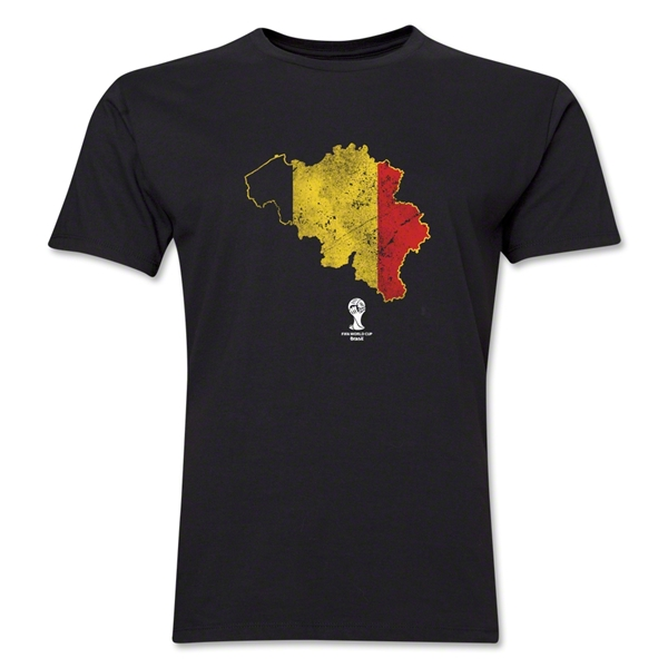 Belgium 2014 FIFA World Cup Brazil(TM) Distressed Men's Premium Flag in Country T-Shirt (Black)