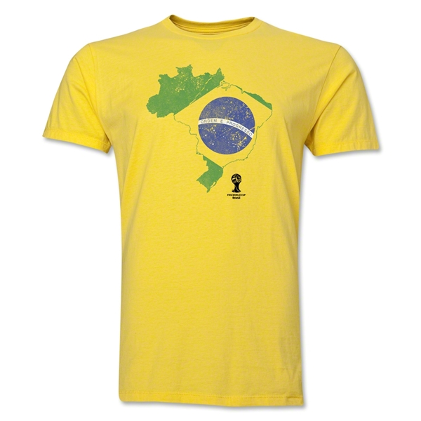 Brazil 2014 FIFA World Cup Brazil(TM) Distressed Men's Premium Flag in Country T-Shirt (Yellow)