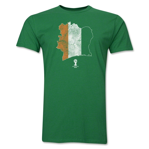 Cote d'Ivoire 2014 FIFA World Cup Brazil(TM) Distressed Men's Premium Flag in Country T-Shirt (Green)