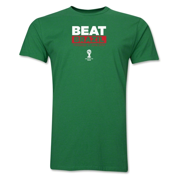 Mexico Beat Brazil 2014 FIFA World Cup Brazil(TM) Men's Premium T-Shirt (Green)