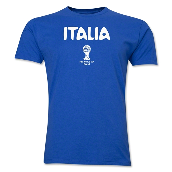 Italy 2014 FIFA World Cup Brazil(TM) Men's Premium Native Language T-Shirt (Black)