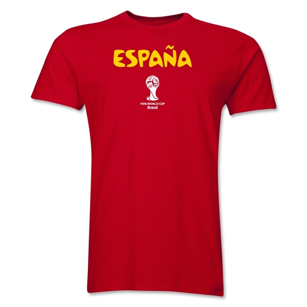 Spain 2014 FIFA World Cup Brazil(TM) Men's Premium Native Language T-Shirt (Red)