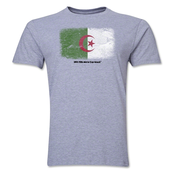 Algeria 2014 FIFA World Cup Brazil(TM) Men's Premium Flag T-Shirt (Gray)