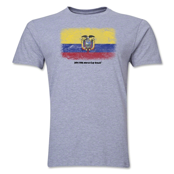 Ecuador FIFA World Cup Brazil(TM) Men's Premium Flag T-Shirt (Gray)