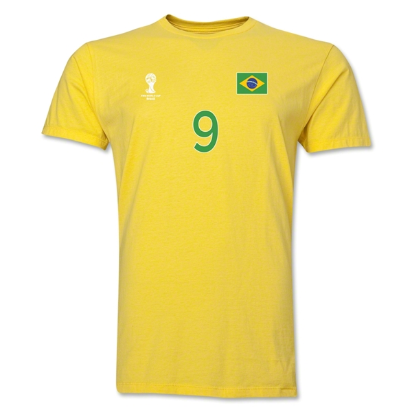 Brazil FIFA World Cup Brazil(TM) Men's Number 9 T-Shirt (Yellow)