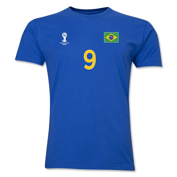 Brazil FIFA World Cup Brazil(TM) Men's Number 9 T-Shirt (Royal)