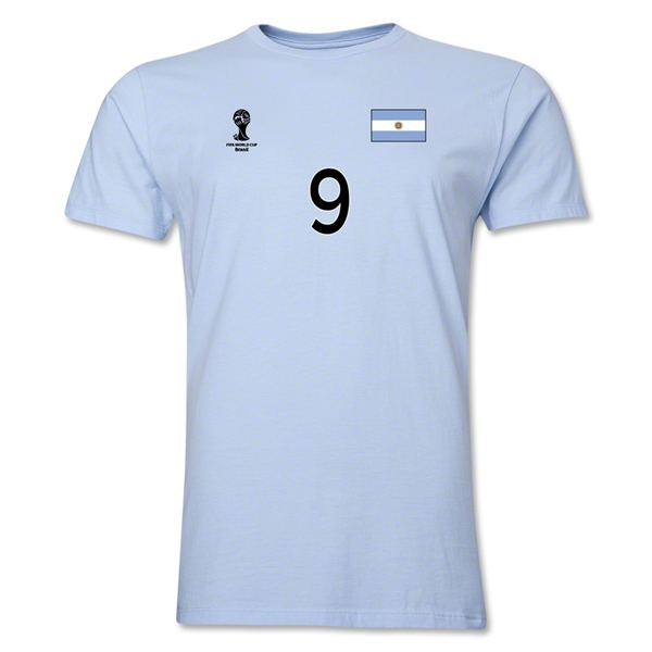 Argentina FIFA World Cup Brazil(TM) Men's Number 9 T-Shirt (Sky)