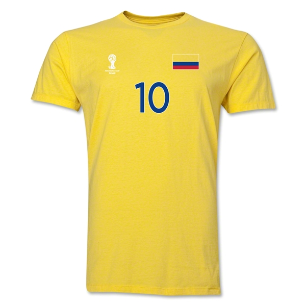 Colombia FIFA World Cup Brazil(TM) Men's Number 10 T-Shirt (Yellow)