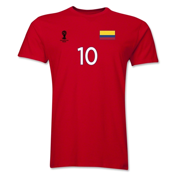 Colombia FIFA World Cup Brazil(TM) Men's Number 10 T-Shirt (Red)
