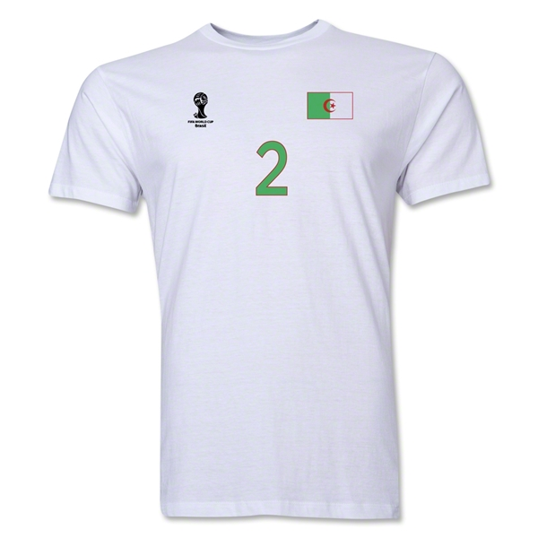 Algeria FIFA World Cup Brazil(TM) Men's Number 2 T-Shirt (White)