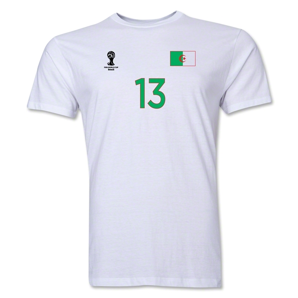Algeria FIFA World Cup Brazil(TM) Men's Number 13 T-Shirt (White)