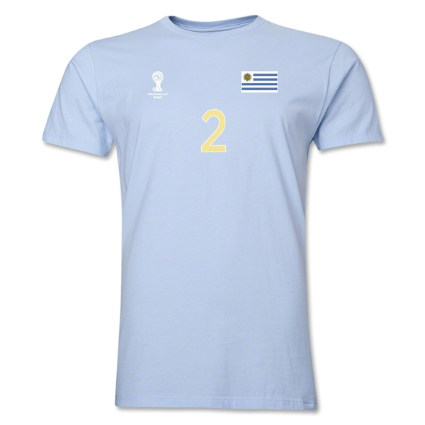 Uruguay FIFA World Cup Brazil(TM) Men's Number 2 T-Shirt (Sky)