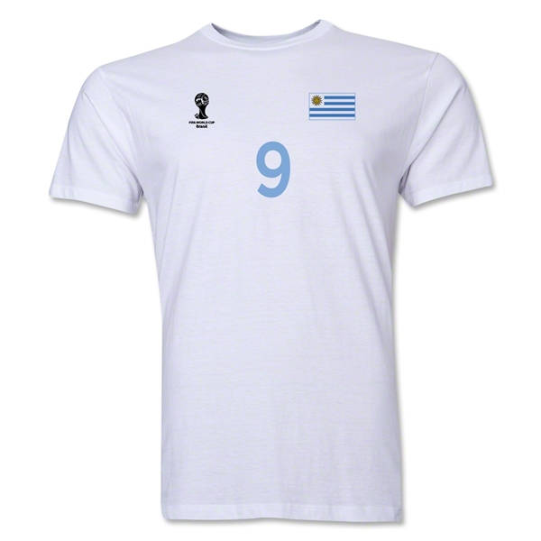 Uruguay FIFA World Cup Brazil(TM) Men's Number 9 T-Shirt (White)