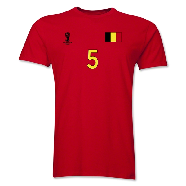 Belgium FIFA World Cup Brazil(TM) Men's Number 5 T-Shirt (Red)
