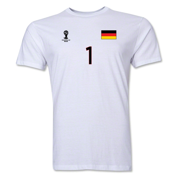 Germany FIFA World Cup Brazil(TM) Men's Number 1 T-Shirt (White)