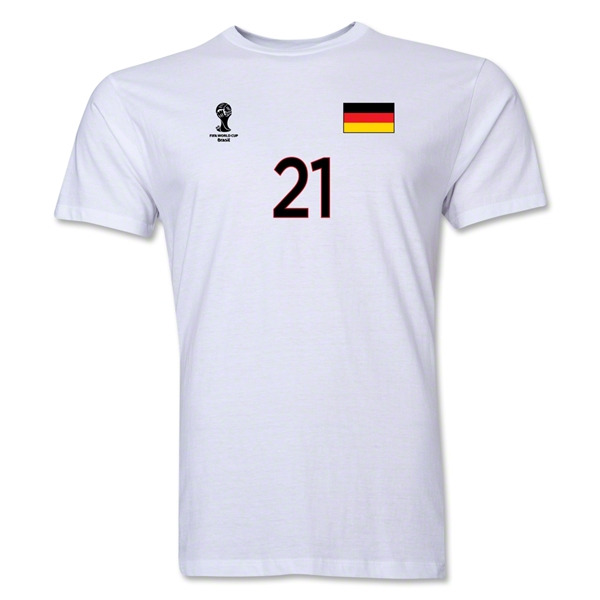 Germany FIFA World Cup Brazil(TM) Men's Number 21 T-Shirt (White)