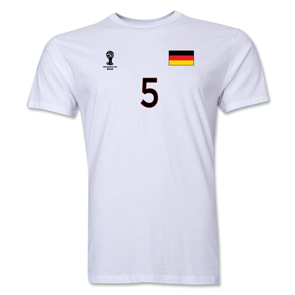 Germany FIFA World Cup Brazil(TM) Men's Number 5 T-Shirt (White)