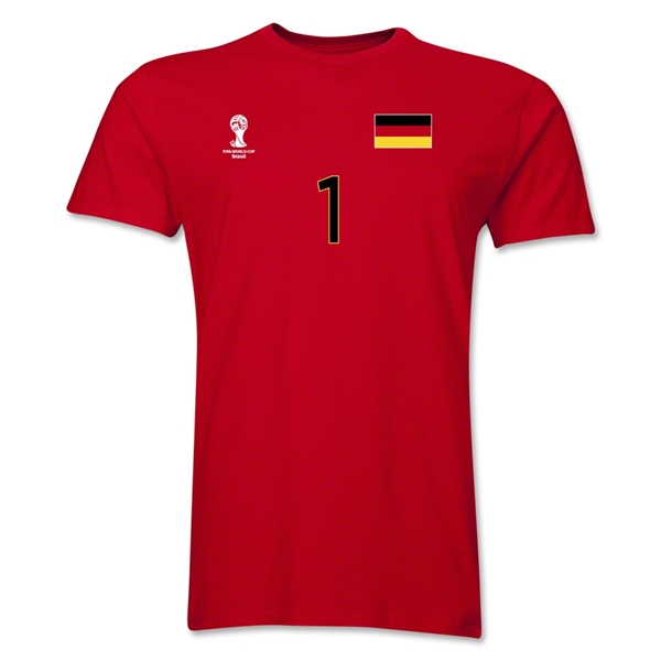 Germany FIFA World Cup Brazil(TM) Men's Number 1 T-Shirt (Red)