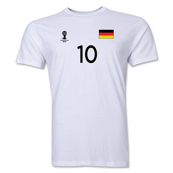 Germany FIFA World Cup Brazil(TM) Men's Number 10 T-Shirt (White)