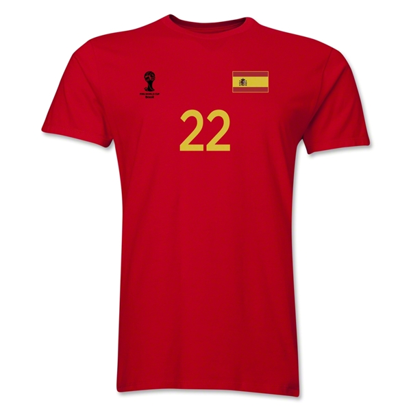 Spain FIFA World Cup Brazil(TM) Men's Number 22 T-Shirt (Red)