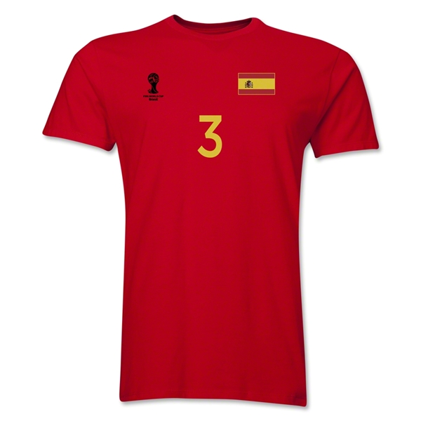Spain FIFA World Cup Brazil(TM) Men's Number 3 T-Shirt (Red)