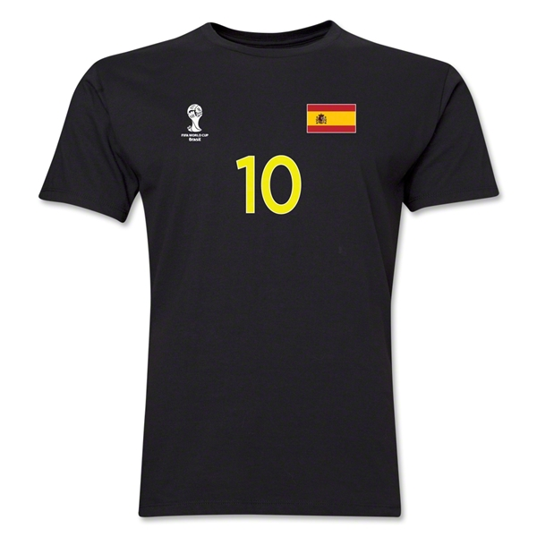 Spain FIFA World Cup Brazil(TM) Men's Number 10 T-Shirt (Black)
