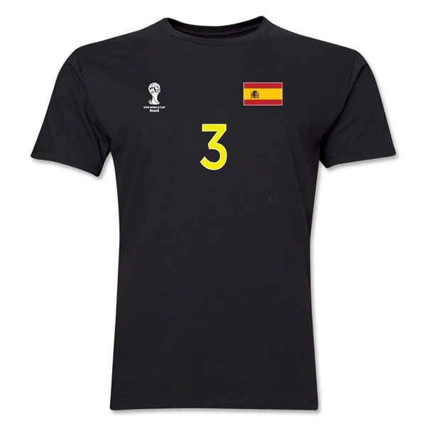 Spain FIFA World Cup Brazil(TM) Men's Number 3 T-Shirt (Black)