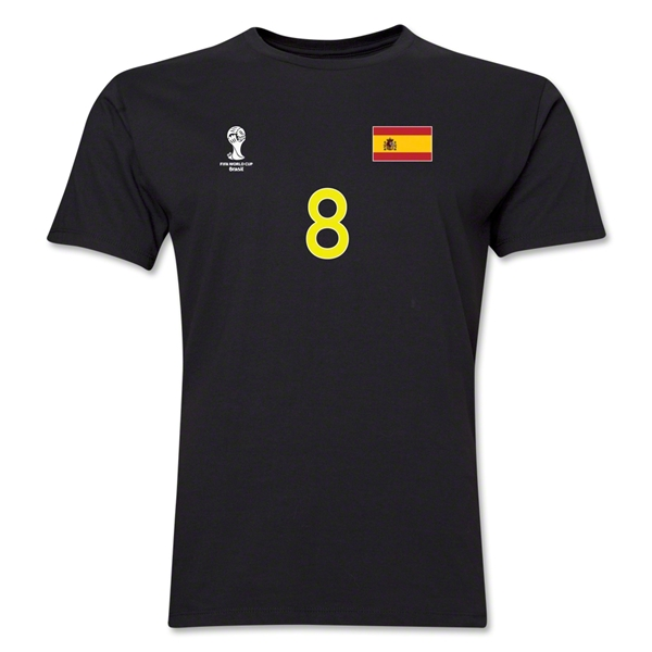 Spain FIFA World Cup Brazil(TM) Men's Number 8 T-Shirt (Black)