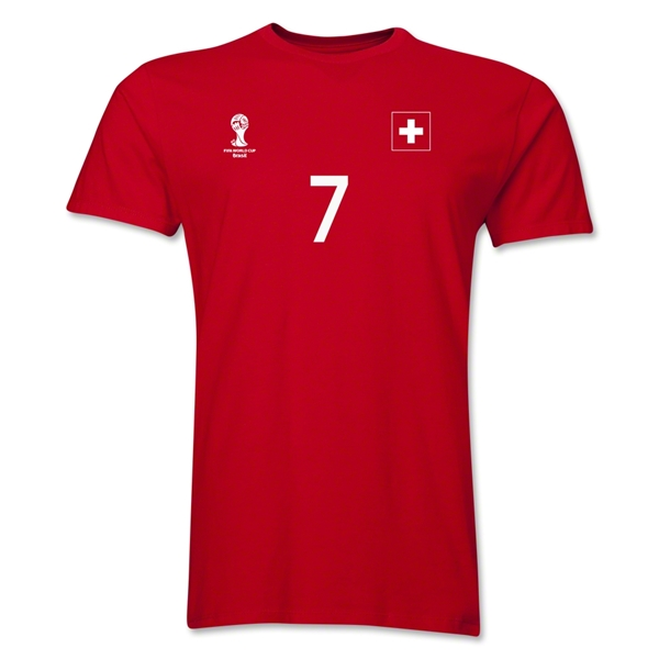 Switzerland FIFA World Cup Brazil(TM) Men's Number 7 T-Shirt (Red)