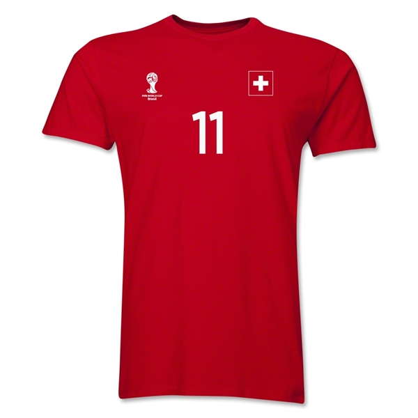 Switzerland FIFA World Cup Brazil(TM) Men's Number 11 T-Shirt (Red)