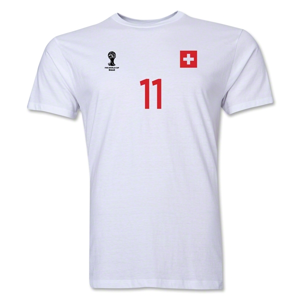 Switzerland FIFA World Cup Brazil(TM) Men's Number 11 T-Shirt (White)