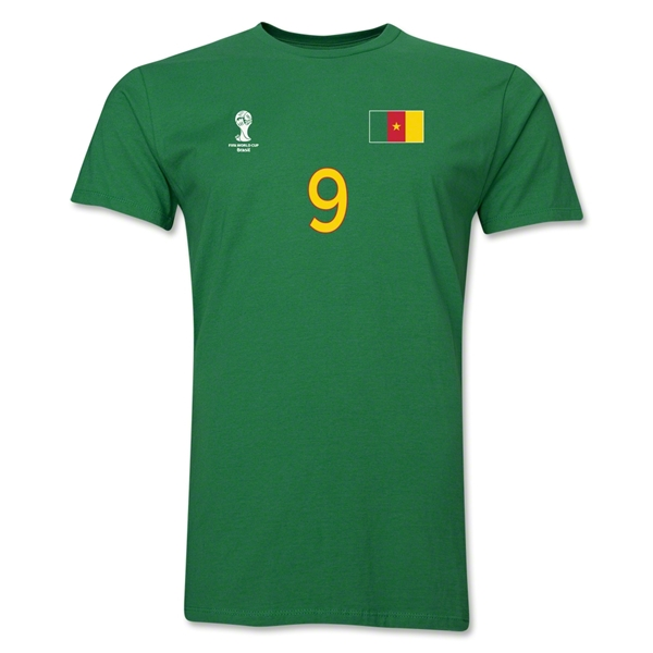 Cameroon FIFA World Cup Brazil(TM) Men's Number 9 T-Shirt (Green)