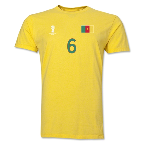 Cameroon FIFA World Cup Brazil(TM) Men's Number 6 T-Shirt (Yellow)