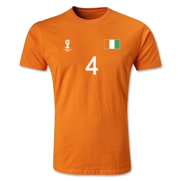 Cote d'Ivoire FIFA World Cup Brazil(TM) Men's Number 4 T-Shirt (Orange)